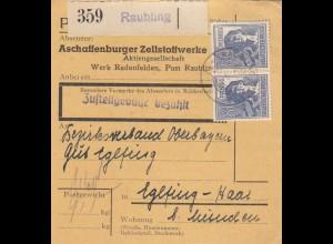 BiZone Paketkarte 1948: Redenfelden Raubling nach Eglfing, Selbstbucher