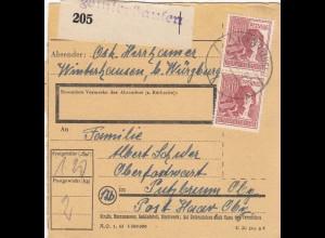 BiZone Paketkarte 1948: Winterhausen nach Oberpfarramt Putzbrunn