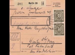 BiZone Paketkarte 1947: Berlin 29 nach Wiechs Post Feilnbach, Wendelstein