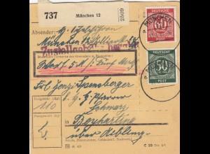 BiZone Paketkarte 1947: München nach Beyharting, Wert 5 DM