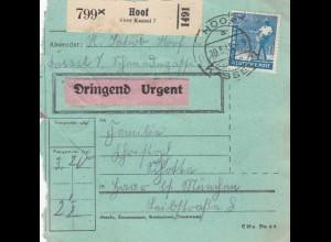 BiZone Paketkarte 1948: Hoof nach Haar, besonderes Formular, Dringend/Urgent