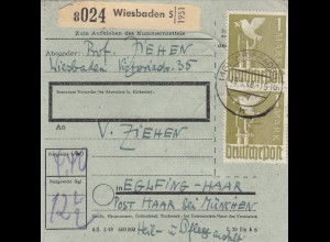 BiZone Paketkarte 1948: Wiesbaden nach Eglfing, besonderes Formular