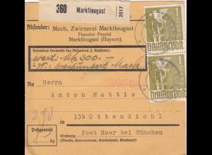 BiZone Paketkarte 1948: Marktleugast nach Ottendichl, Wertkarte, Selbstbucher