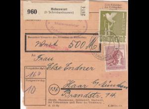 BiZone Paketkarte 1948: Hohenwart nach Haar bei München