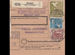 BiZone Paketkarte 1948: Benstorf nach Haar, Elektrotechnische Fabrik