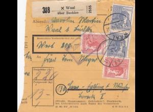 BiZone Paketkarte 1948: Waal über Buchloe nach Haar, Wertkarte