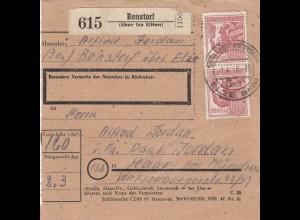 BiZone Paketkarte 1948: Benstorf über Ize E(Hannover) nach Haar bei München