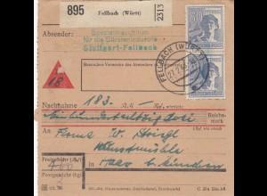 BiZone Paketkarte 1948: Bürstenindustrie Fellbach nach Haar, Nachnahme