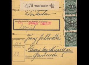 BiZone Paketkarte 1948: Wiesbaden nach Haar, Leergut