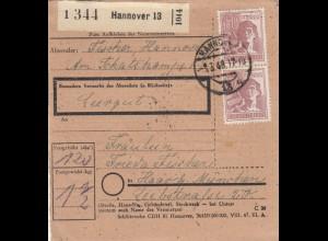 BiZone Paketkarte 1948: Hannover nach Haar b. München, Leergut