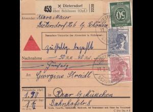 BiZone Paketkarte 1948: Dietersdorf nach Haar, Nachnahme