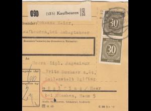 BiZone Paketkarte 1948: Kaufbeuren nach Heilanstalt Eglfing Haar