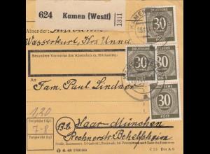 BiZone Paketkarte 1947: Kamen Kreis Unna nach Haar