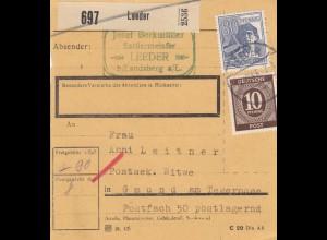 BiZone Paketkarte 1947: Leeder, Sattlermeister nach Gmund, Postsek. Witwe