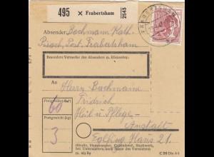 BiZone Paketkarte 1948: Pirach Frabertsham nach Eglfing, Heilanstalt