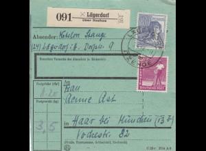 BiZone Paketkarte 1948: Lägerdorf nach Haar, besonderes Formular