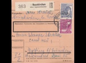 BiZone Paketkarte 1948: Neunkirchen über Aglasterhausen nach Eglfing