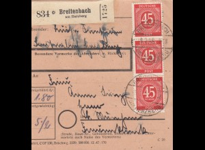 BiZone Paketkarte 1948: Breitenbach am Herzberg nach Haar