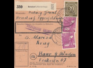 BiZone Paketkarte 1948: Arnstorf (Niederbay.) nach Haar
