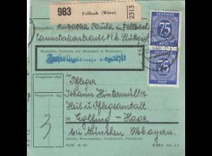 BiZone Paketkarte 1948: Fellbach nach Eglfing-Haar, Anstalt, besonderes Formular