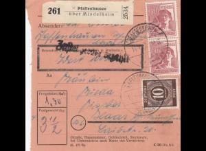 BiZone Paketkarte 1948: Pfaffenhausen über Mindelheim nach Haar, Wertkarte