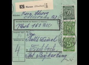 BiZone Paketkarte 1947: Murnau nach Fischbach, besonderes Formular, Wertkarte