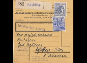 BiZone Paketkarte 1948: Redenfelden, Zellstoffwerke nach Eglfing, Selbstbucher