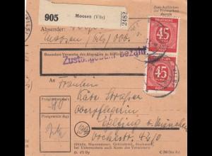BiZone Paketkarte 1948: Moosen nach Oberpflegerin in Eglfing