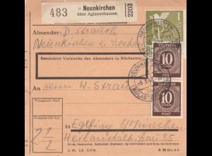 BiZone Paketkarte 1948: Neunkrichen nach Eglfing, Heilanstalt