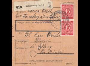 BiZone Paketkarte 1948: Wasserburg nach Eglfing, Pflegerin