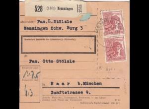 BiZone Paketkarte 1948: Memmingen nach Haar bei München