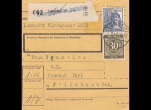 BiZone Paketkarte 1947: Landshut nach Feilnbach Obb.