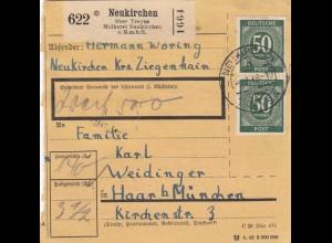 BiZone Paketkarte 1948: Molkerei Neukirchen nach Haar, Selbstbucher, Wertkarte
