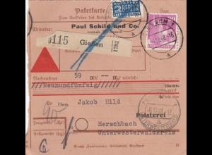 BiZone Paketkarte 1948: Gießen nach Herschbach, Selbstbucher, Nachnahme, Notopf.
