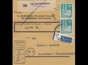 BiZone Paketkarte 1948: Homberg nach Herschbach, Selbstbucher 11/774 Pf.