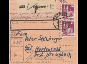BiZone Paketkarte 1948: Salzbergen nach Hartenfels, Post Herschbach