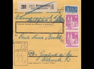 BiZone Paketkarte 1948: Wurmannsquick nach Gmund, Notopfer