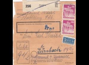 BiZone Paketkarte 1948: Plattling nach Dürnbach, Notopfer