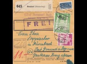 BiZone Paketkarte 1948: Arnstorf n. Dürnbach, Post Gmund, Gasthaus Kraus, Notopf