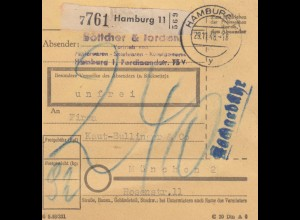 BiZone Paketkarte 1948: Hamburg nach München, Nachgebühr
