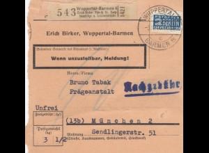 BiZone Paketkarte : Wuppertal-Barmen n. München, Selbstbucher, Nachgeb., Notopf.