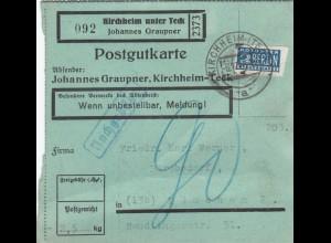 BiZone Paketkarte 1948 : Kirchheim Teck, Selbstb., Notopf., Nachg., bes. Formul.
