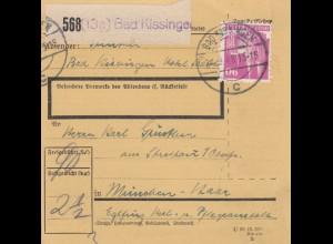 BiZone Paketkarte 1948 : Bad Kissingen nach München-Haar