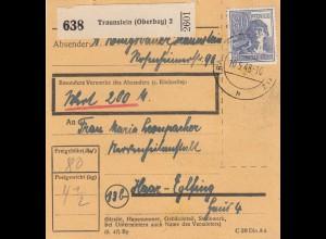 BiZone Paketkarte 1948 : Traunstein nach Haar-Eglfing, Wertkarte