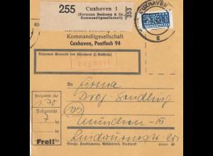 BiZone Paketkarte 1948 : Cuxhaven nach München, Notopfer, Selbstbucher