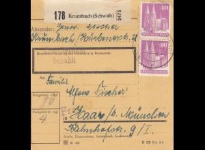 BiZone Paketkarte 1948 : Krumbach nach Haar München