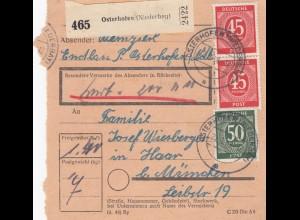 BiZone Paketkarte 1948: Osterhofen nach Haar, Wertkarte