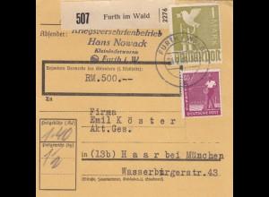 BiZone Paketkarte 1948: Kriegsversehrtenbetrieb Furth im Wald, Wertkarte