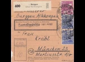 BiZone Paketkarte 1948: Burggen Schongau nach München
