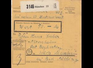 BiZone Paketkarte 1947: München nach Beyharting, Schloss Maxlrain, Wertkarte